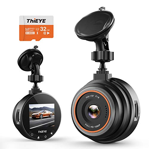 Dashcam 1080P Full HD, ThiEYE Autokamera Auto-Videorecorder mit 32 GB SD-Karte, 170° Weitwinkelobjektiv, 1.5 Zoll LCD-Bildschirm, WDR, Bewegungserkennung, Loop-Aufnahme, Nachtsicht und G-Sensor