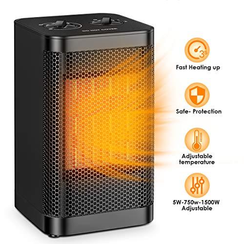 Tragbare Raumheizung Qoosea Mini-Elektroheizung für das Heimbüro 1500 W Kleiner, Leiser, Schneller Heizlüfter mit einstellbarem Thermostat Tischkeramikheizung mit Überhitzungs- und Kippschutz
