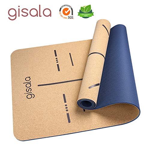 gisala Yogamatte aus Kork und Naturkautschuk, Yoga Matte rutschfest für Gymnastik, Pflegeleichte jogamatte mit Tragegurt(183 x 65 x 0,6 cm) (Blau)