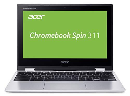 Acer Chromebook Spin 311 (11,6 Zoll HD IPS, 360° Convertible, 20mm flach, extrem lange Akkulaufzeit, schnelles WLAN, MicroSD Slot, Google Chrome OS) Silber