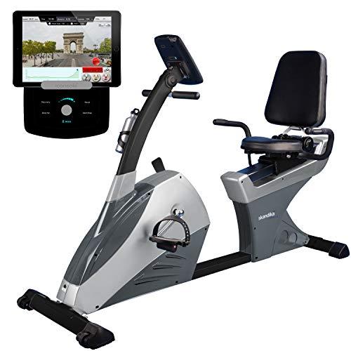 skandika Centaurus Liege-Ergometer, 9 kg Schwungmasse, 12 vorinstallierte Trainingsprogramme & Bluetooth Smartphone/Tablet App-Steuerung mit Google Street View (schwarz/grau (Bluetooth, iConsole))