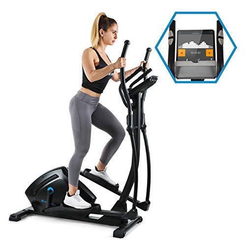 Capital Sports Helix Track Cross-Trainer mit Trainingscomputer Heimtrainer (Bluetooth, Kinomap-Applikation, MagResist-Magnet-Widerstand, 18 kg Schwungmasse, Tablethalter, USB-Ladebuchse) schwarz