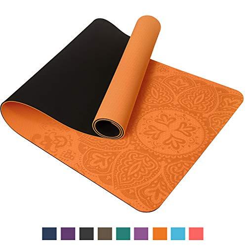 TOPLUS Preumium Yogamatte aus hochwertigen TPE, rutschfest Yogamatte Gynastikmatte Übungsmatte Sportmatte für Yoga, Pilates,Fitness usw.-Gelb&Schwarz